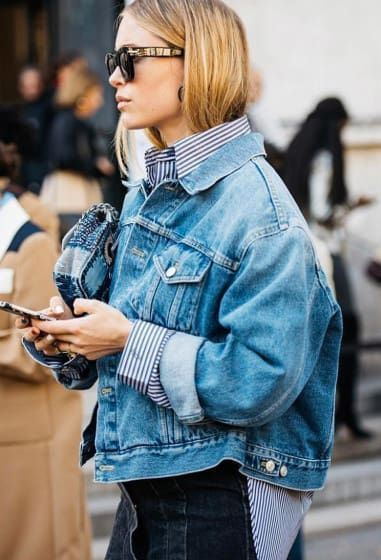 street style obsession_denim jacket + stripped shirt + black skinnies + bag