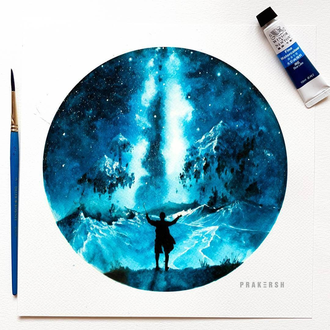01-Waking-Up-10-Conquer-Prakersh-Blue-and-Round-Fantasy-Watercolor-Paintings-www-designstack-co