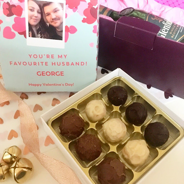 flatlay - open box of personalised chocolates from Vanilla Reindeer