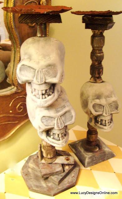 Halloween plastic skull candlesticks