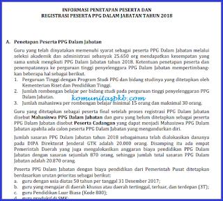 Informasi tentang Penetapan Peserta dan Registrasi Peserta PPG Dalam Jabatan Tahun 2018