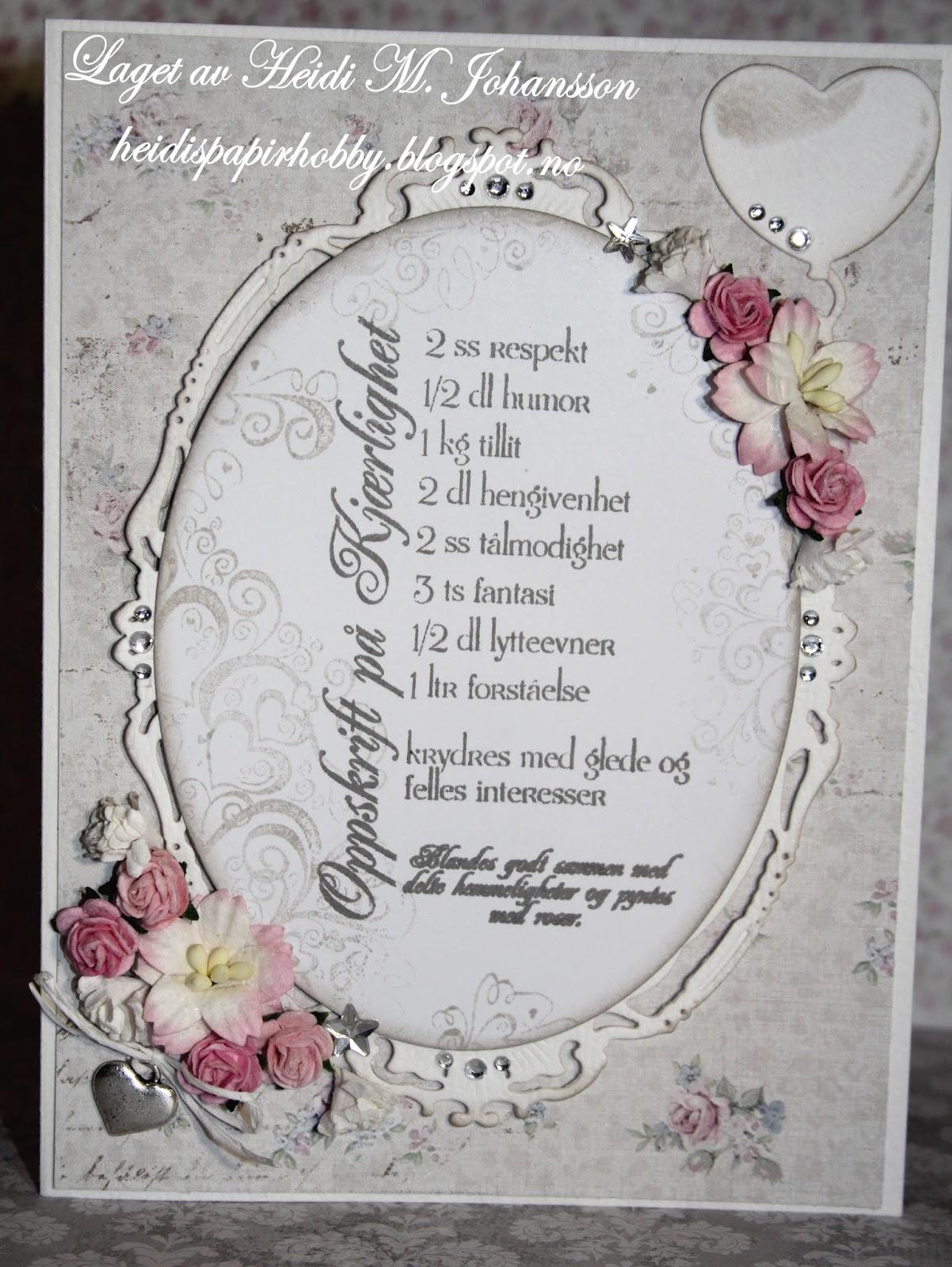 Heidis papirhobby: Enkelt bryllupskort