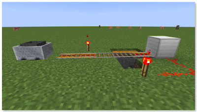 Minecraft トロッコアイテム輸送 簡単な荷降ろし駅 発車後