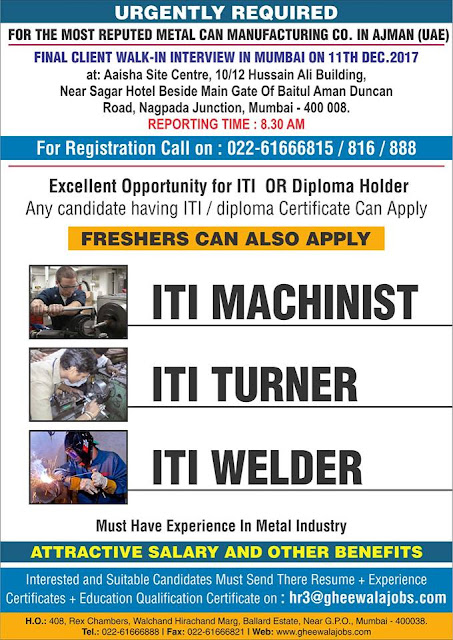 ITI  Machinist / Turner/ Welder Jobs for Freshers | Gheewala Mumbai | Walk-in Interview for Gulf Jobs