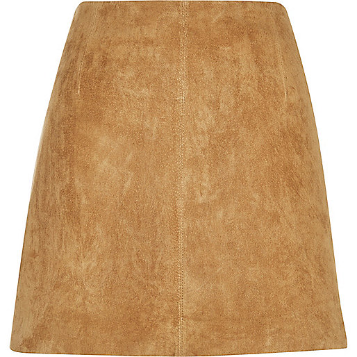 tan suede skirt, river island suede skirt,