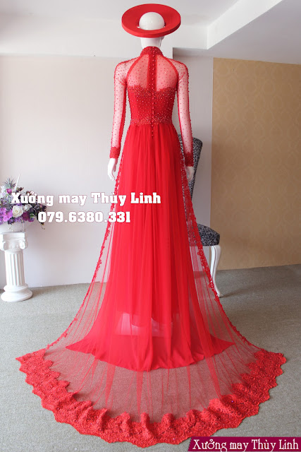 Nổi bật trước 4 mẫu áo dài cưới tông đỏ vô cùng ấn tượng