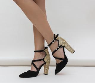 Pantofi Wils Aurii cu negru piele intoarsa