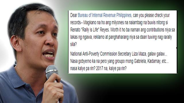 2tjQ0r8 Netizen urges BIR to check Bayan's Renato Reyes contribution as taxpayer