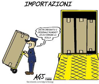 di maio, rumeni, criminalità, importazioni, vignetta, satira
