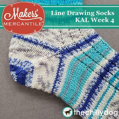 Line Drawing Socks KAL Week 4 with Makers' Mercantile: knitting the afterthought heel with Zitron Art Deco Yarn and addi FlexiFlip Needles
