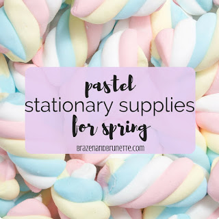 The prettiest pastel stationary supplies for spring, including soft-toned pens, highlighters, paper products, and office supplies. spring school supplies. pastel desk supplies. pretty stationary supplies. law school blog. law student blogger | brazenandbrunette.com