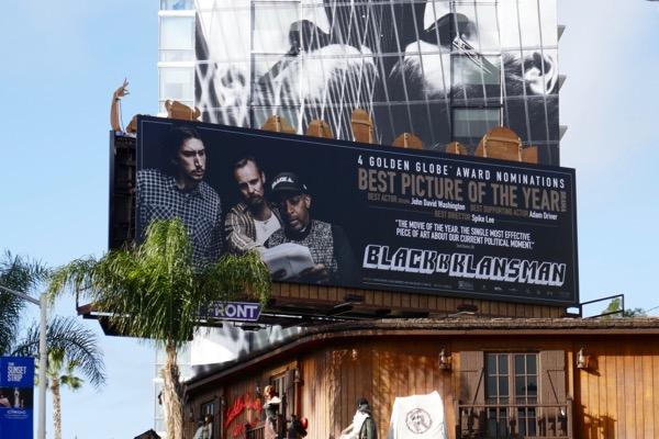 BlacKkKlansman Golden Globe nominee billboard