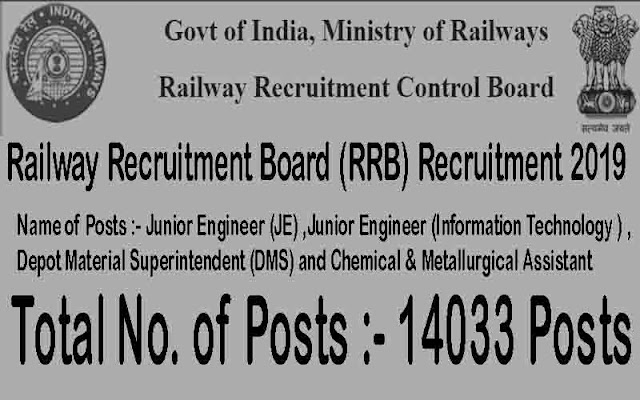 RRB Recruitment 2019 – Apply Online for 14033 JE, Superintendent & Asst Posts RRB Recruitment 2019 – Apply Online for 14033 JE, Superintendent & Asst Posts | RRB JE Recruitment 2019: Apply online for 14,000 vacancies; check details | Railways Releases Notification For More More Than 13,000 Junior Engineer Vacancies | Indian Railway Announces Junior Engineer Vacancies; Check Post Details, Eligibility Here | RRB JE recruitment 2019: Application, documents needed, exam date, eligibility and other details | RRB JE Recruitment 2019: Apply online for 14,033 JE and other posts @ indianrailways.gov.in | rrb-junior-engineer-14033-vacancies-recruitment-eligibility-qualifications-exam-dates-apply-online-www.rrcb.gov.in-rrb /2018/12/rrb-junior-engineer-14033-vacancies-recruitment-eligibility-qualifications-exam-dates-apply-online-www.rrcb.gov.in-rrb.html