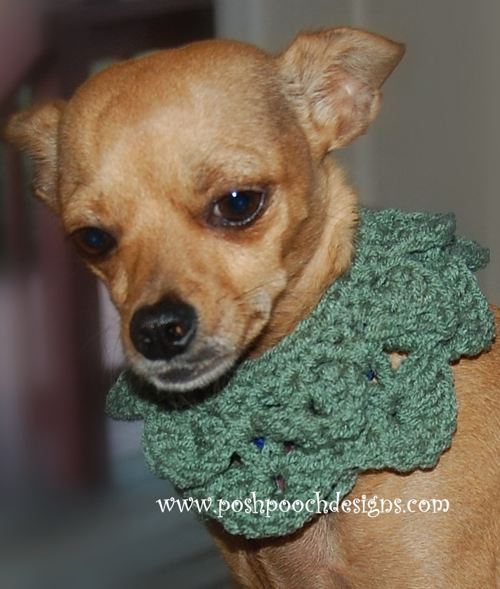 Posh Pooch Designs Dog Clothes Crocodile Stitch Dog Collar Crochet