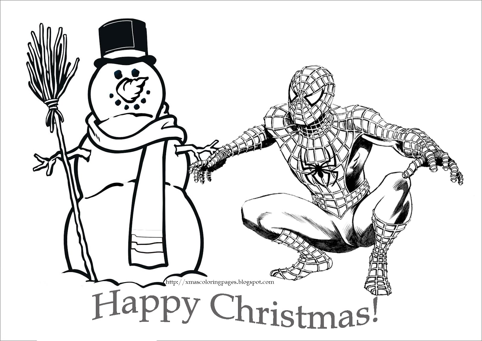 SPIDERMAN COLORING: SPIDERMAN CHRISTMAS COLORING PAGE