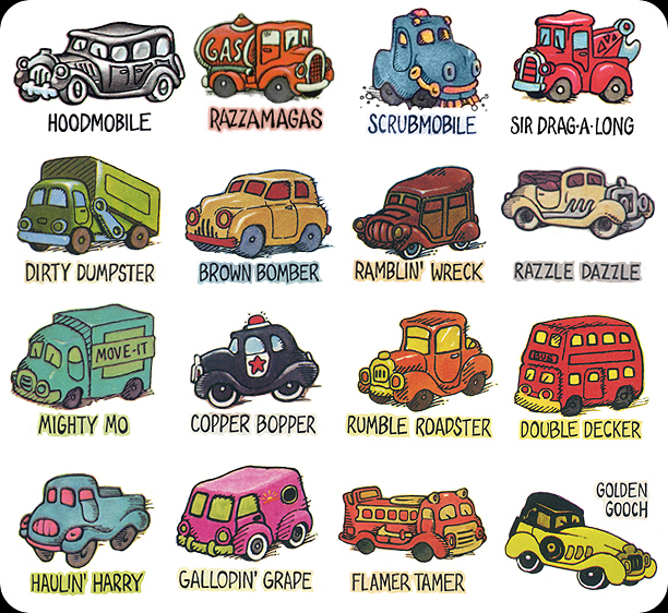 Cars 2 Cartoon Characters Names : The long morrow road rovers and funkymobiles