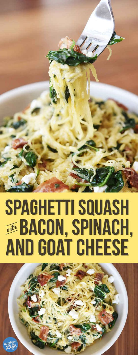 Spaghetti Squash With Bacon, Spinach, and Goat Cheese