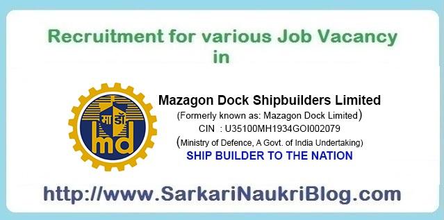 Naukri Vacancy Recruitment Mazagon Dock Shipbuilders