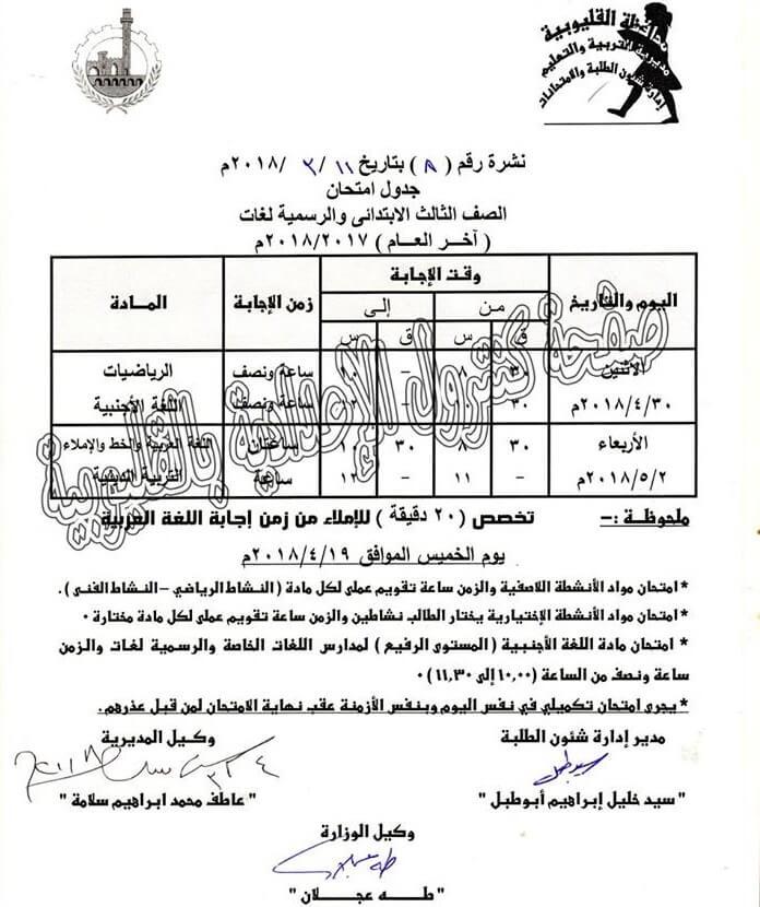 جدول امتحانات اخر العام 2018