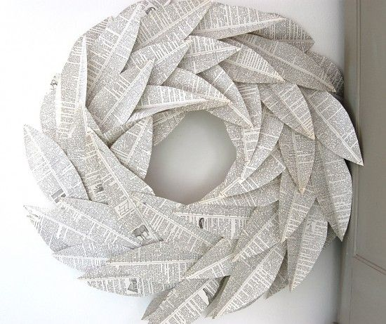 image result for beautiful Christmas book page paper wreath