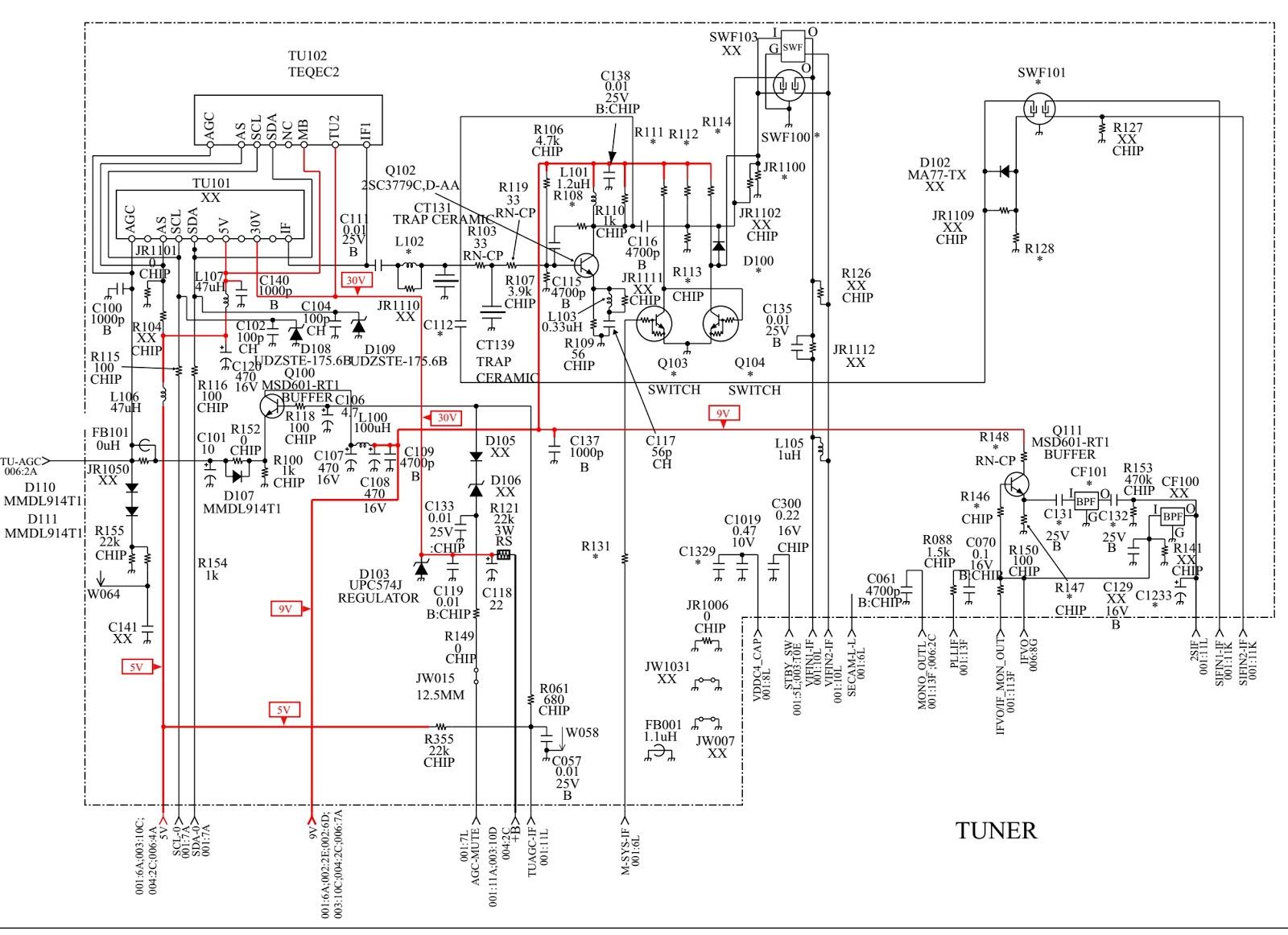 Sony Trinitron KV HW212M60  Circuit Diagram  LED