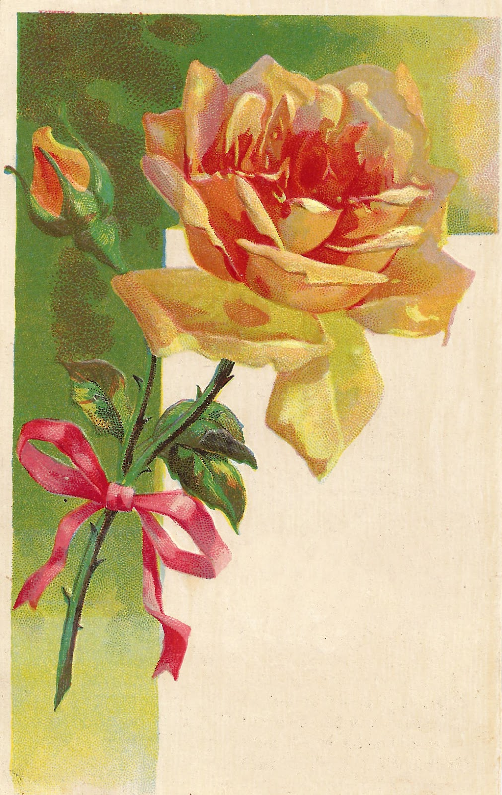 Antique Images: Vintage Flower Clip Art: Yellow Rose with ...
