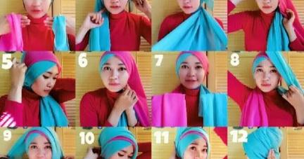 Tutorial Cara Memakai Hijab Segi Empat Dua Warna Hijab Trendz Fashion