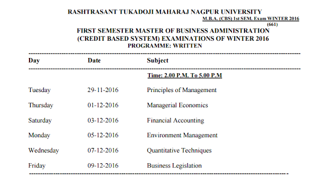 M b a cbs 1st sem winter 2016 time table nagpur university for Rtmnu time table 4th sem