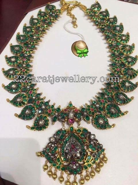 Large Emerald Mango Mala with Pendant