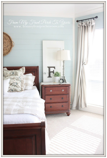 French Farmhouse -French Country-Master Bedroom-Sherwin Williams Rainwashed-From My Front Porch To Yours
