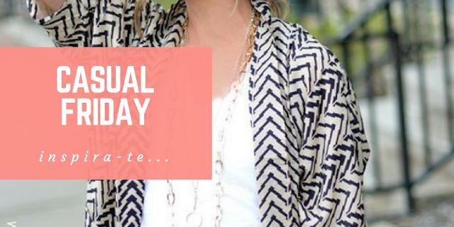Casual friday | DRESS FOR SUCCESS - Imagem ilustrativa de uma mulher vestindo uma blusa branca, um kimono branco e preto às riscas e um colar prateado