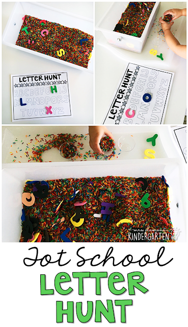 We LOVE this letter hunt sensory bin. Great for tot school, preschool, or even kindergarten!