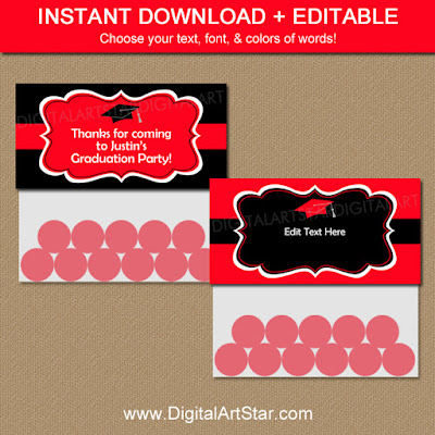 Editable Graduation Bag Topper template in red & black