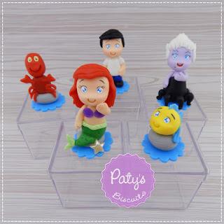 Apliques, Porta recados e caixinhas decoradas d'A Pequena Sereia - Festa Infantil - Paty's Biscuit