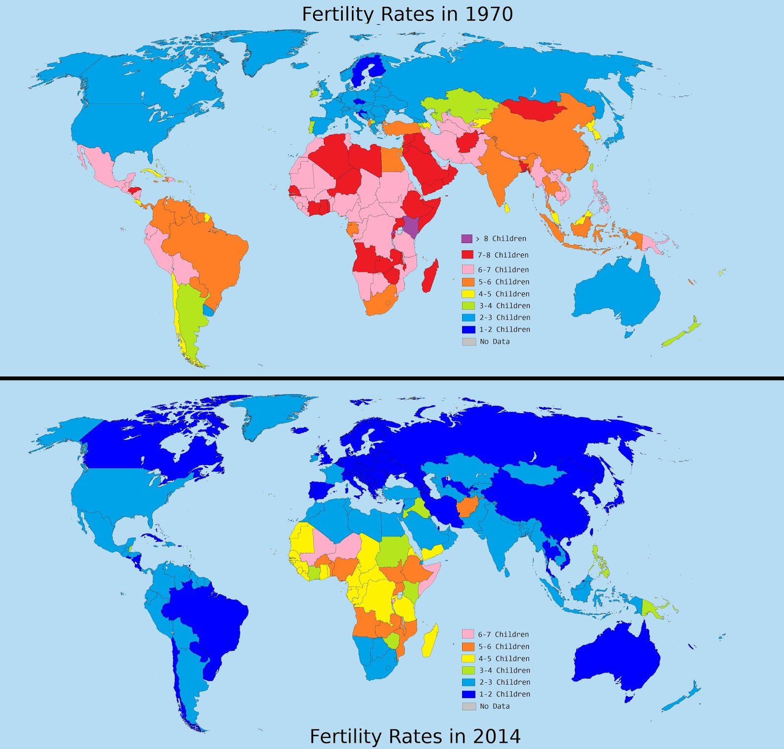 The astounding drop in Global Fertility Rates between 1970 And 2014