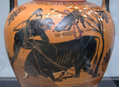 Hercules and the Cretan bull. Attic black-figure amphora, c. 510 BC.