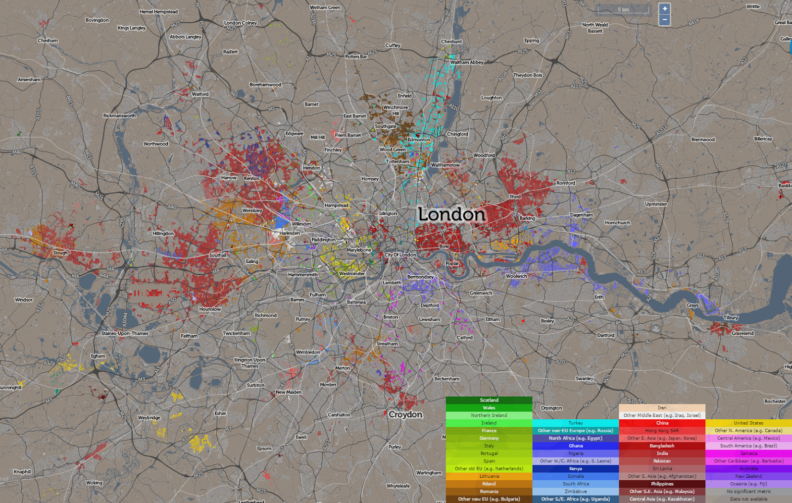 Mapping where immigrants settle in London