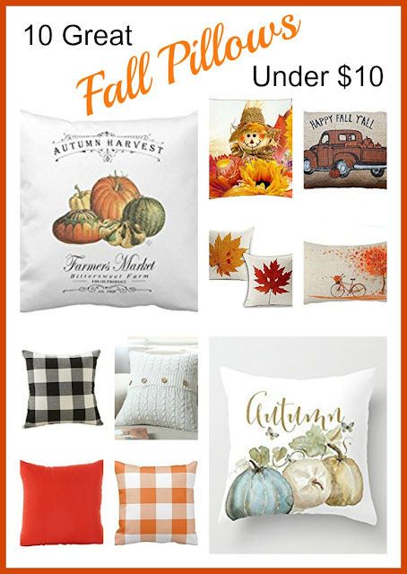 Vintage, Paint and more... 10 fall pillows found on Amazon.com for under $10 to decorate your home for fall