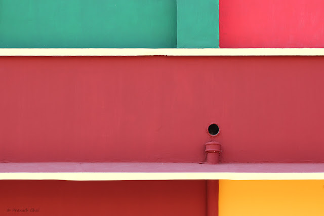 Minimalism using Colorful Rectangles Painted on the Walls of a Kindergarten School as a Subject.
