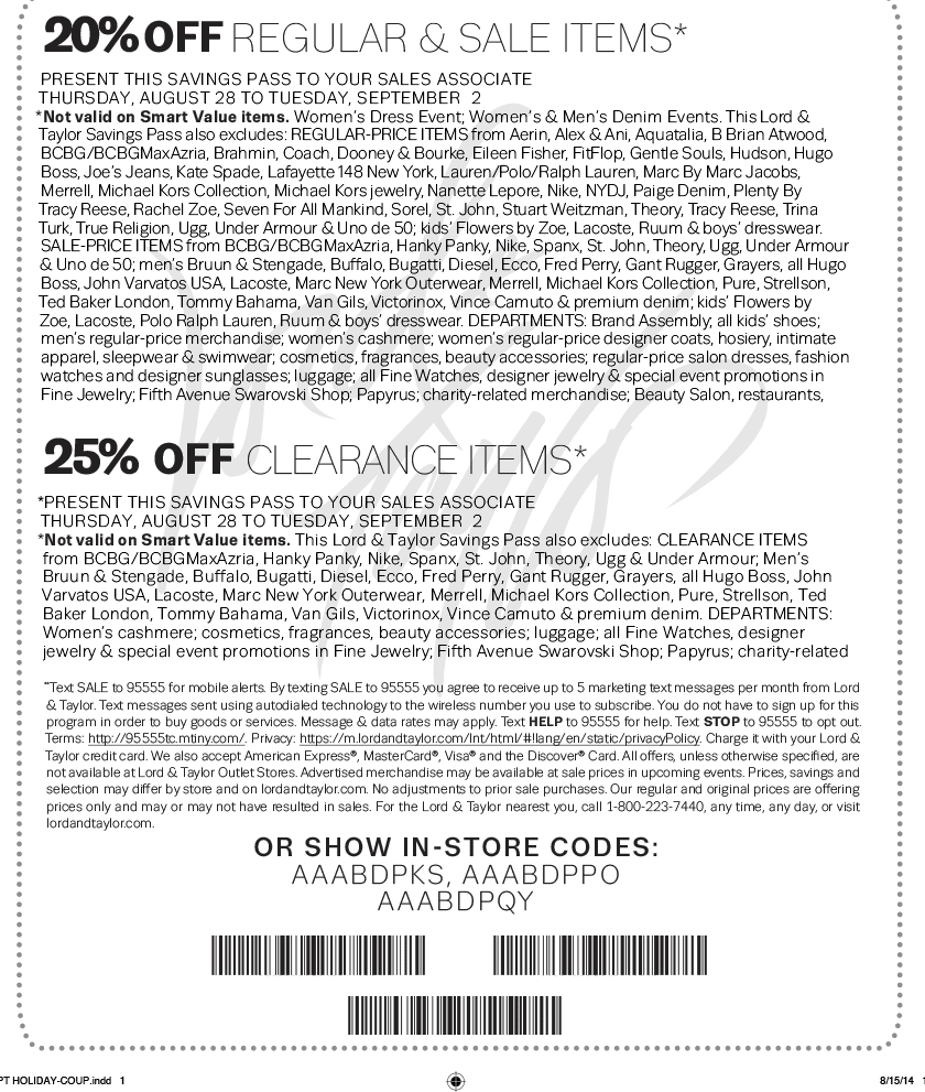 graphic about Lord and Taylor Printable Coupon called Lord and taylor discount codes may perhaps 2018 - Earthbound investing