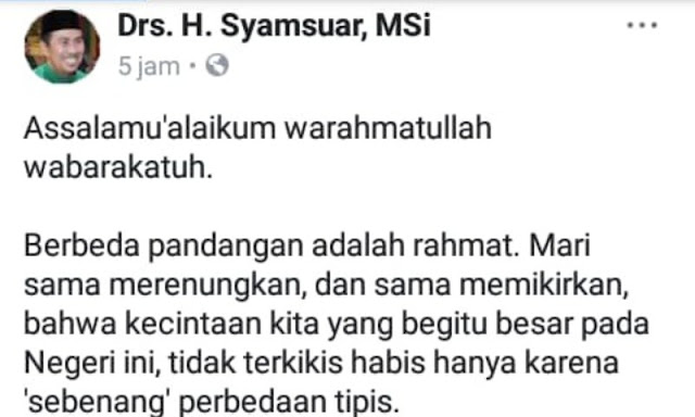 Terang-terangan Dukung Jokowi, Gubernur Riau Terpilih Tuai Kritik Warganet