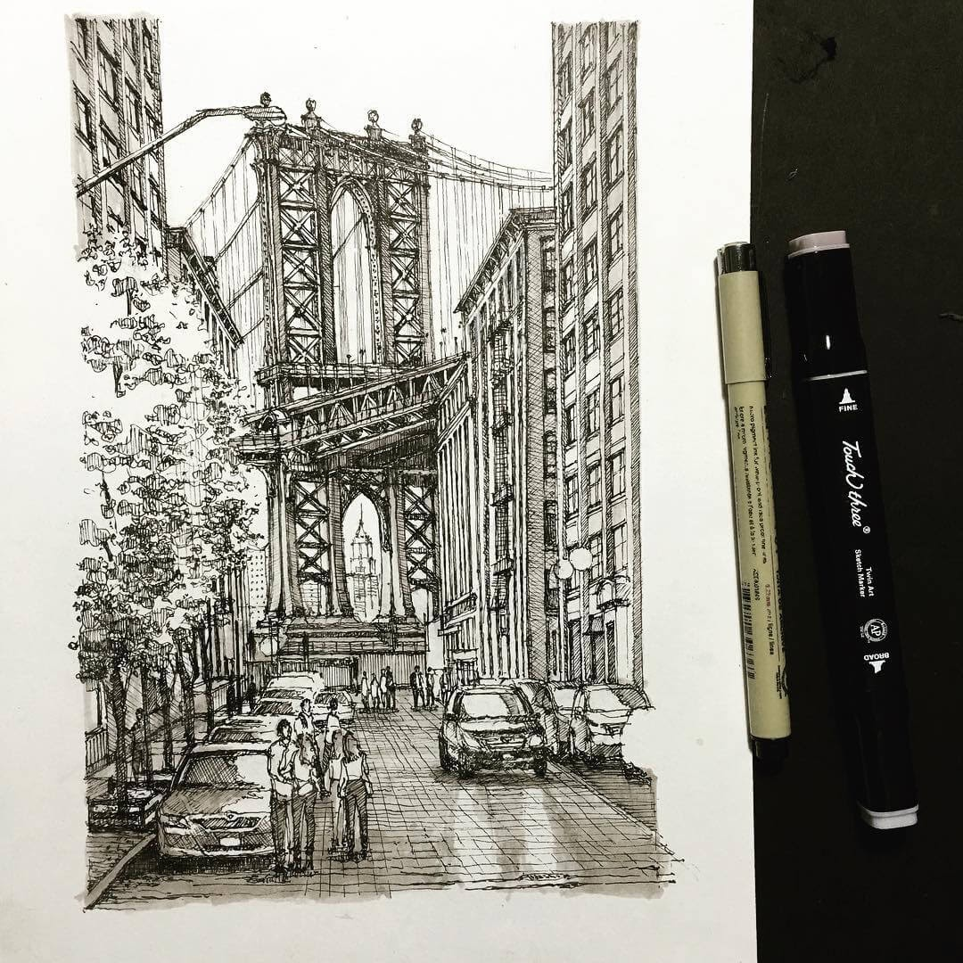 09-Manhattan-bridge-HAO-Sketches-Fineliners-Urban-Architectural-www-designstack-co