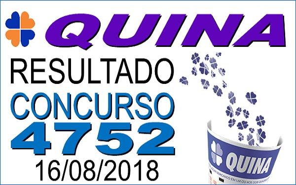 Concurso de número 4752 da Quina realizado nesta quinta-feira (16/08/2018). Confira os números sorteados: