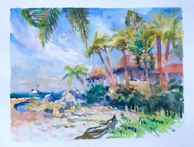 Veronika Mcleod Plein Air In Mexico. Watercolor Paintings