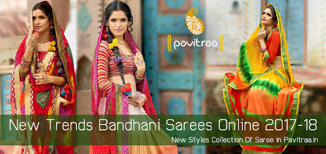 Latest Tradiotnal Designer Bandhani Lehariya Sarees for Wedding Season Online Shopping Collection with Low Price in India