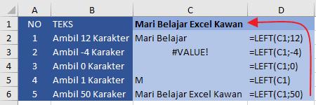 Contoh Fungsi Left Excel