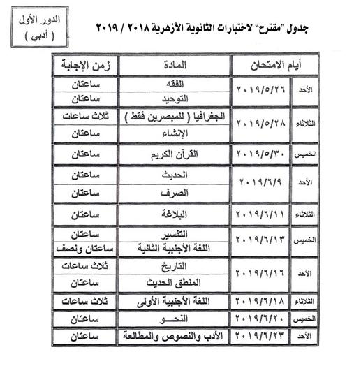 جدول امتحانات الثانوية الازهرية ادبى 2019  25 مايو ، وتنتهي يوم الأربعاء 26 يونيو