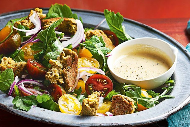 Baked chickpea and lemon falafel with tahini dressing