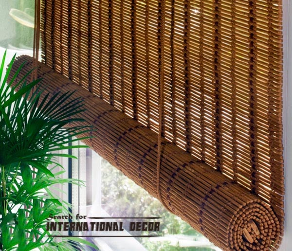 Bamboo curtains for window coverings in home interior
