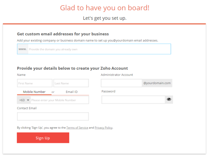 Setting up free domain-based email with Zoho Mail